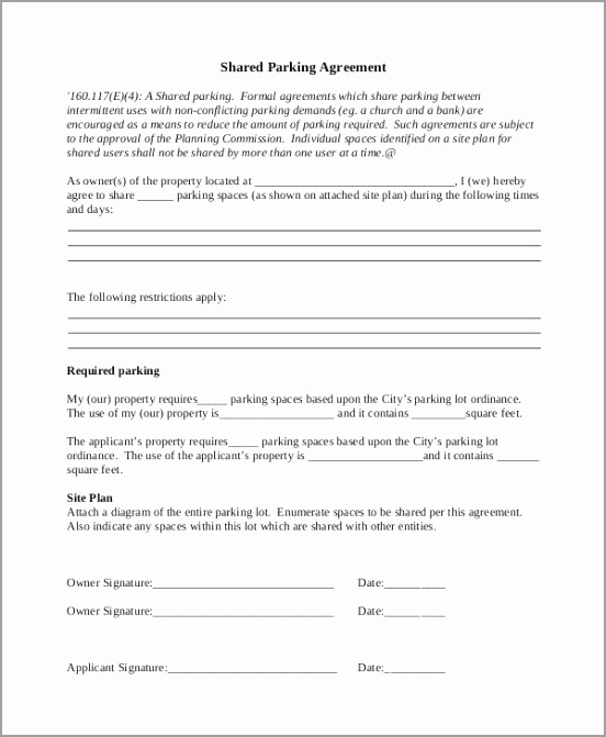 d Parking Agreement Template tuetd