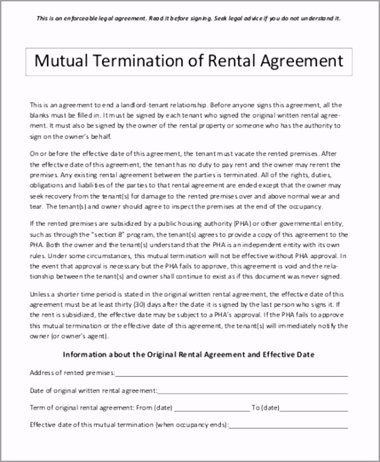 Sample Mutual Contract Termination Agreement itiru