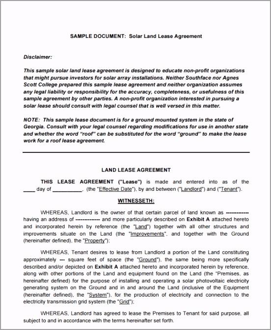 Sample Solar Land Lease Agreement uioso