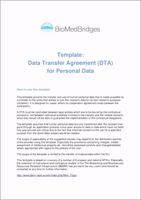 Data Transfer Agreement Template 001 eydti