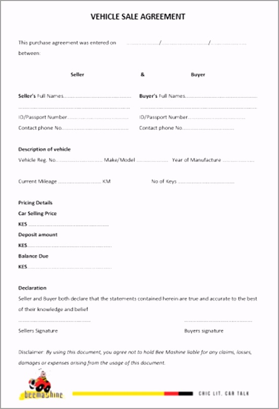 car sale purchase agreement forms in kenya 5 free printable templates oeyou