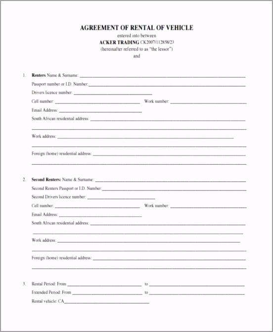 Car Rental Lease Agreement Form prqre