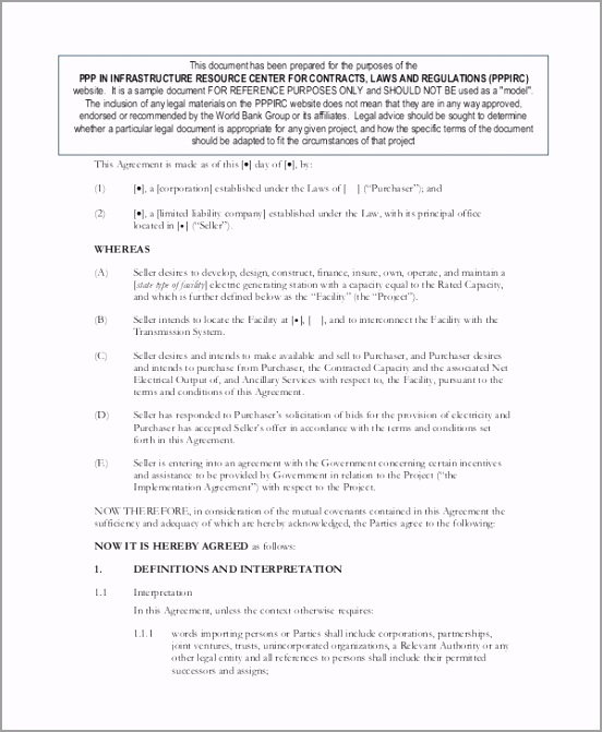 Power Purchase Agreement Contract tuayg