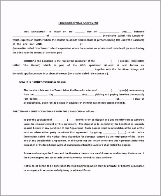HDB Room Rental Agreement Free Doc Template Download toavu