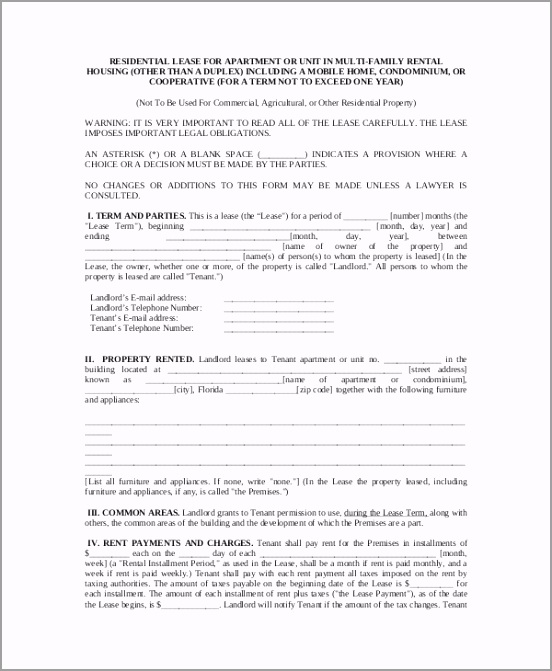 Apartment Lease Contract Template uiier