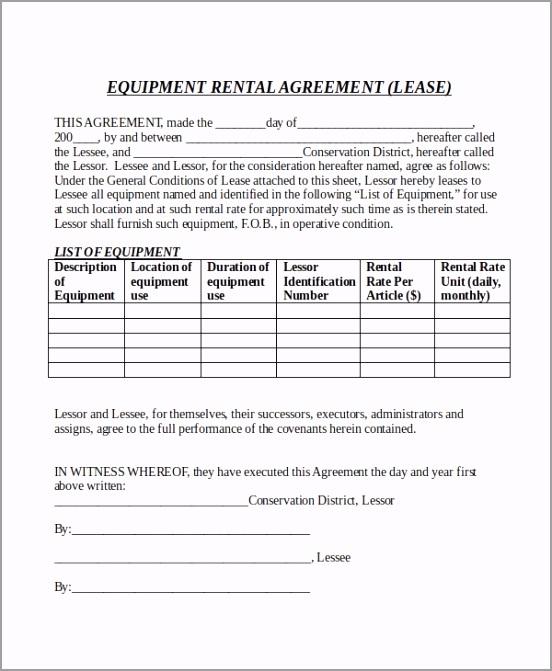 Equipment Rental Agreement Form Doc Free Download wtoae
