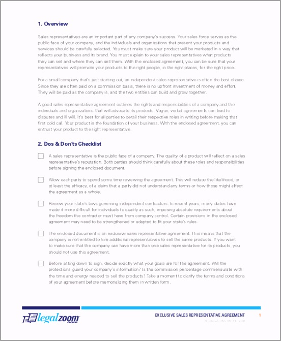Exclusive Sales Representatives Agreement Form1 ppqup