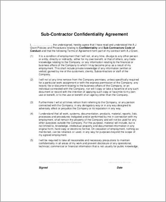 Subcontractor Confidentiality Agreement rouyq