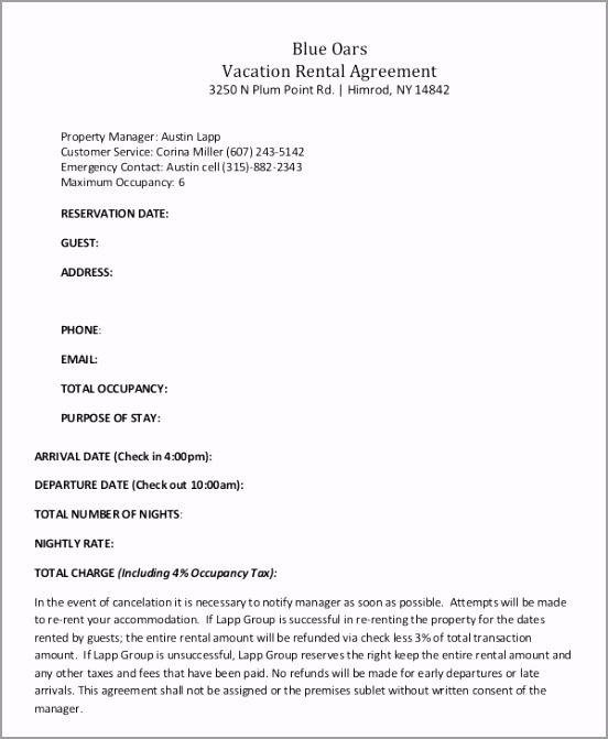 Blue Oars Vacation Rental Agreement PDF Download emauo