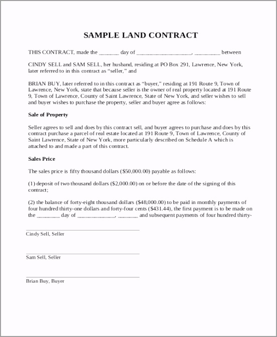 Land Sale Contract Form oreyr