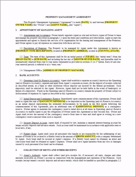 Property Management Agreement turrt