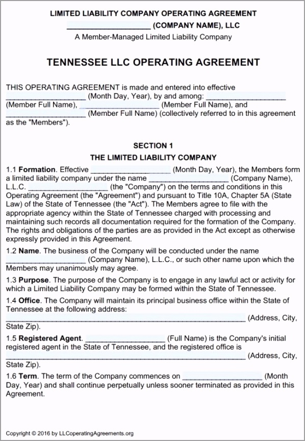 Tennessee LLC Multi Member Operating Agreement Template 650x941 aypen