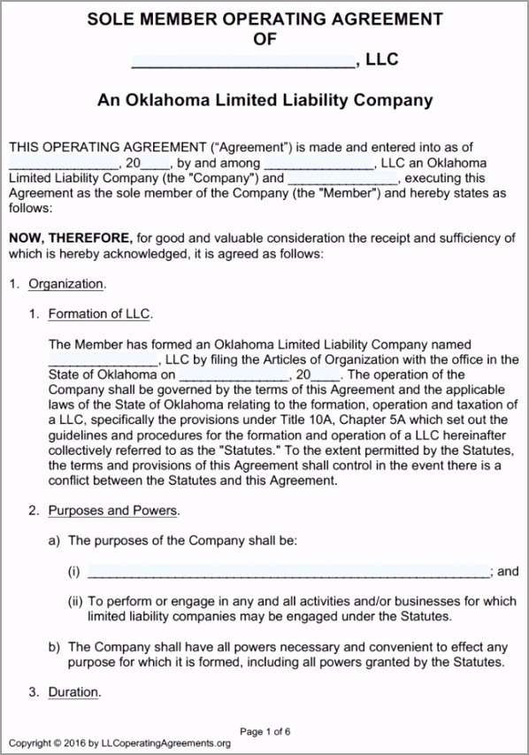 Oklahoma Single Member LLC Operating Agreement Template pdf iriya