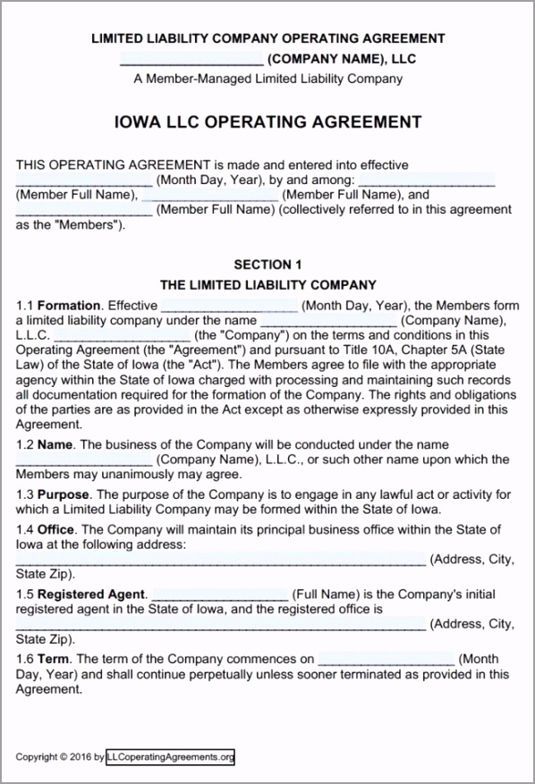 Iowa Multi Member LLC Operating Agreement Template 650x954 toguf