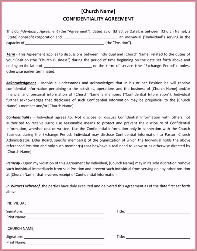 Church Confidentiality Agreement 4 uuypq