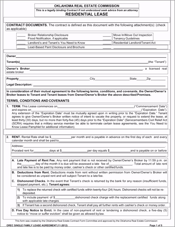 Oklahoma Rental Agreement template Sample eusew