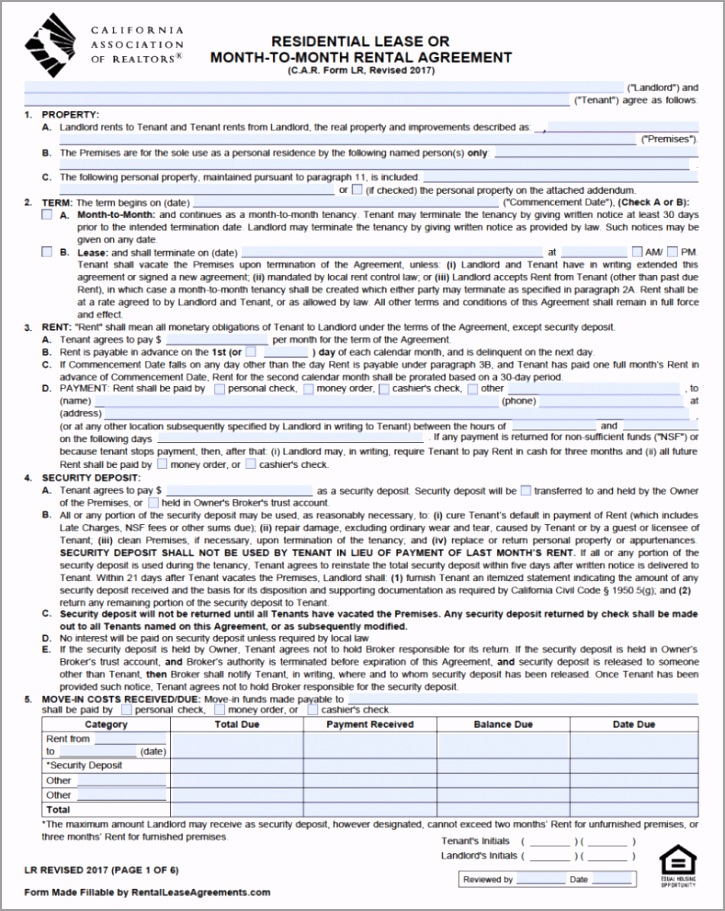 free california standard residential lease agreement template pdf 4 rogyu