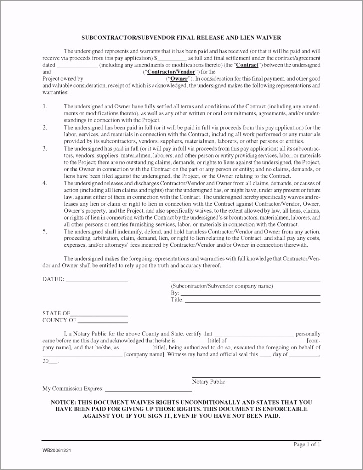 Subcontractor Release Form Final Lien Waiver 791x1024 yyoep