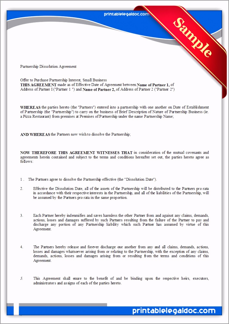 Printable Partnership Dissolution Agreement Form iobei