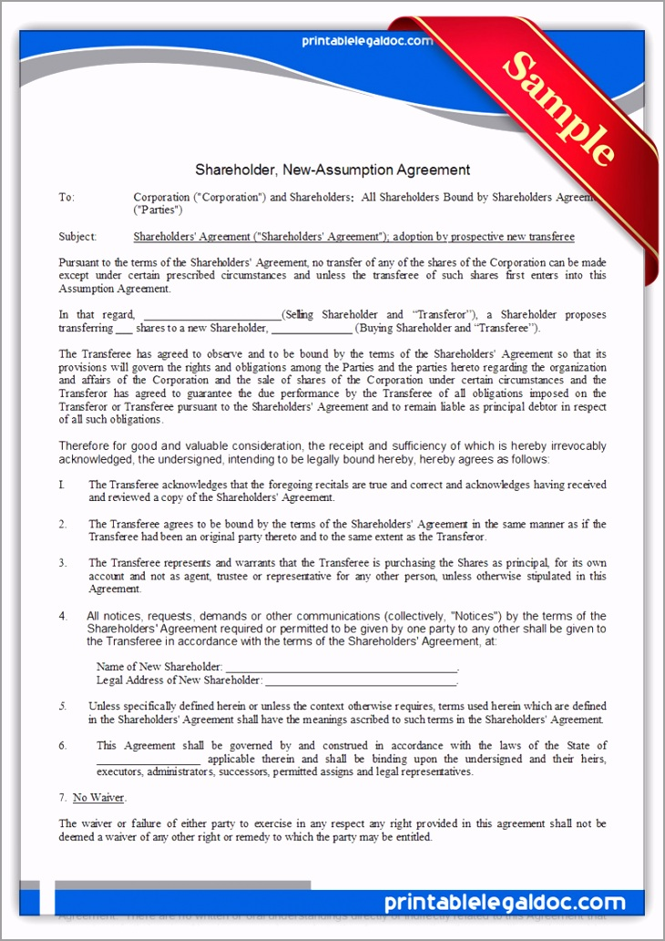 Printable holder New Assumption Agreement Form reite