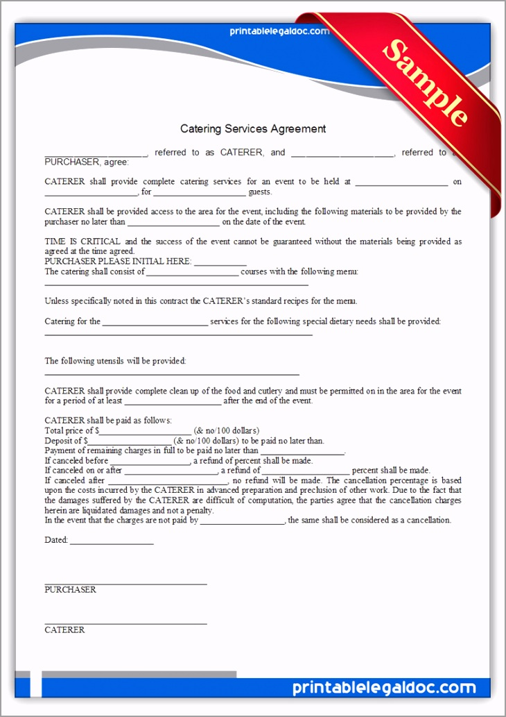 Printable Catering Services Agreement Form pyrww