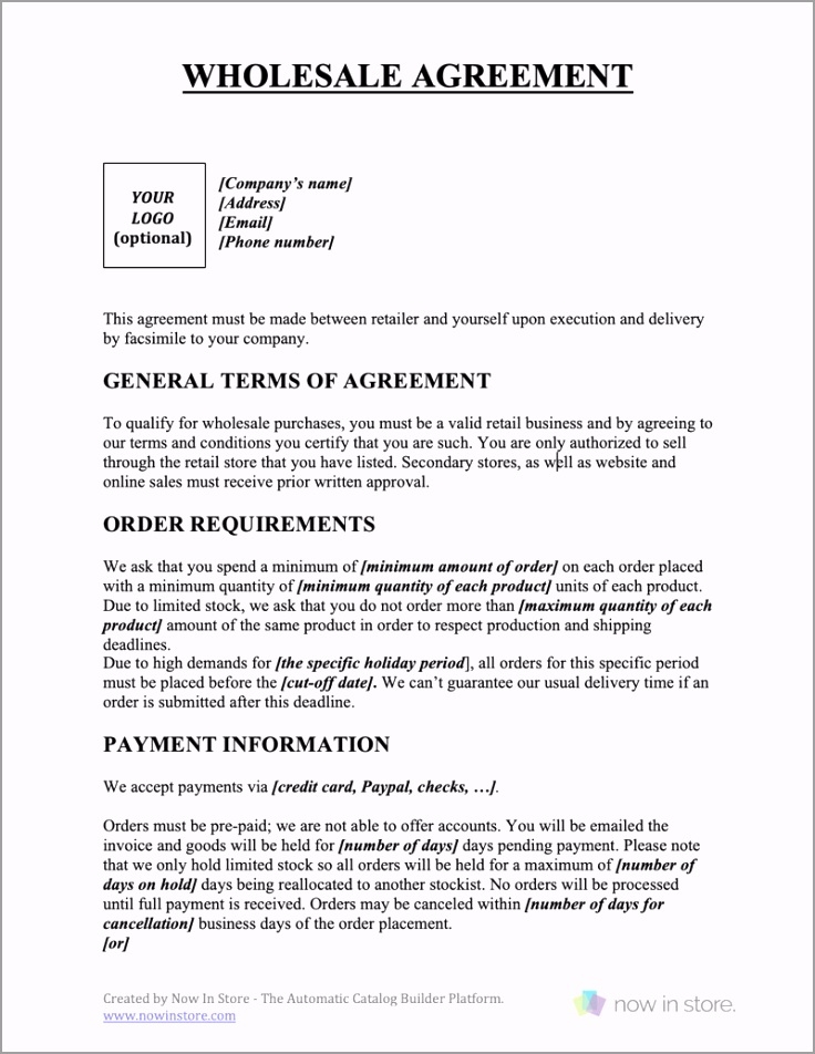 wholesale agreement tiiew