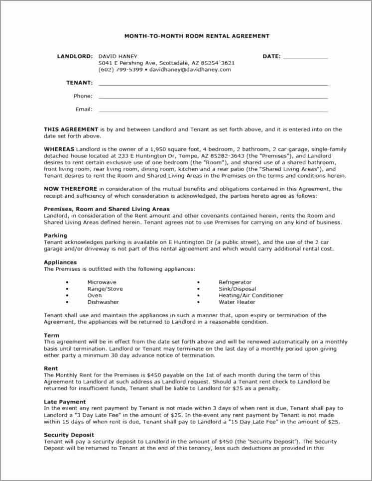 templates month to month room rental agreement template 812x1051 awawt