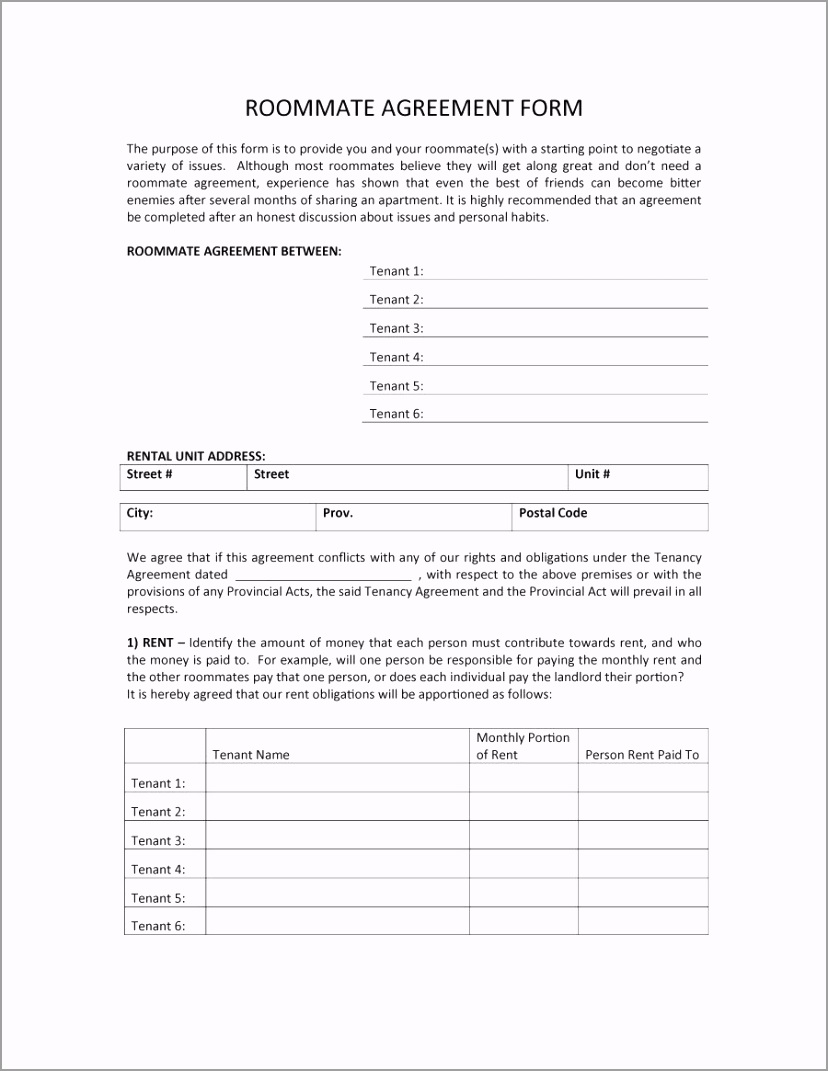 roommate agreement template 39 prtrp