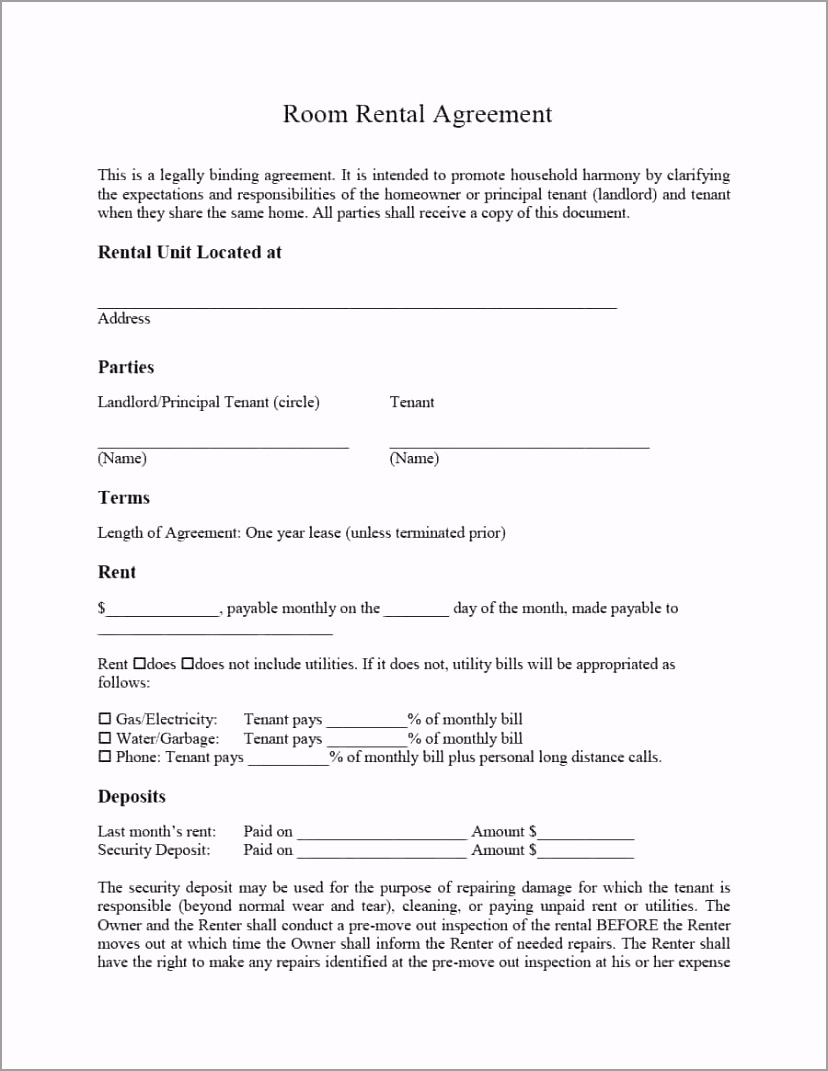 room rental agreement 03 oiwut