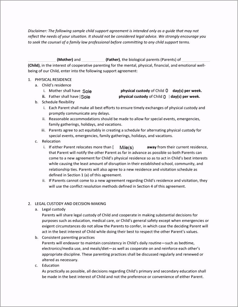 child support agreement 01 ueutt