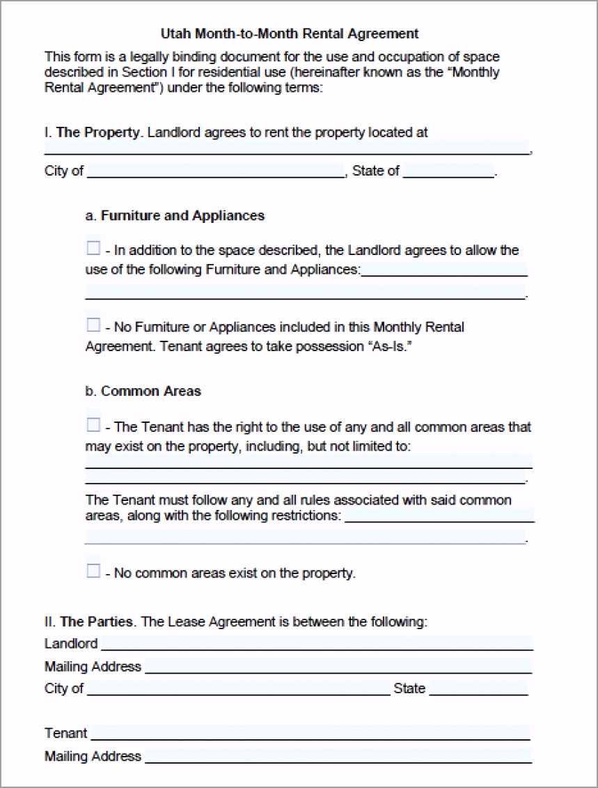 utah month to month lease agreement form rtpoe