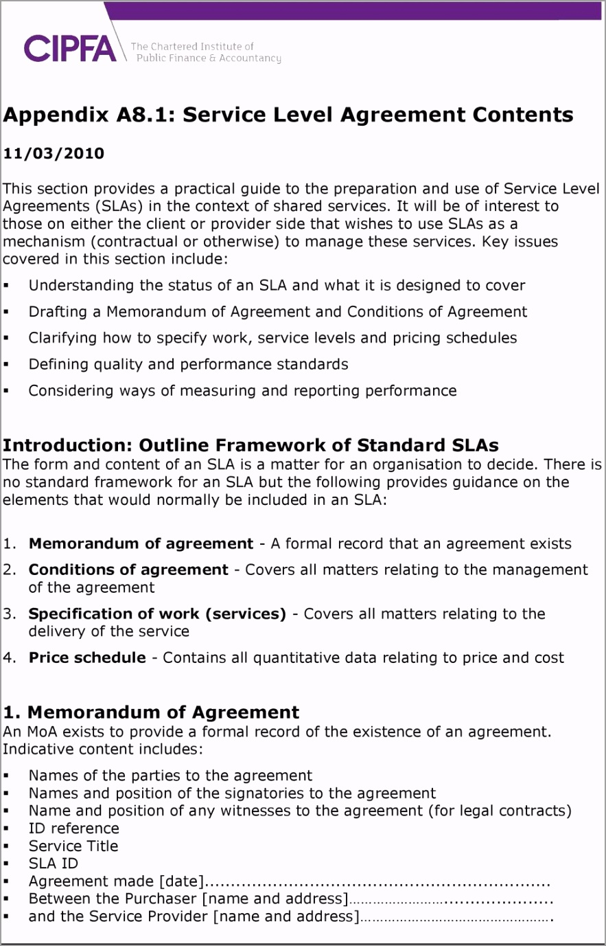 Appendix a8 1 service level agreement contents iiaow