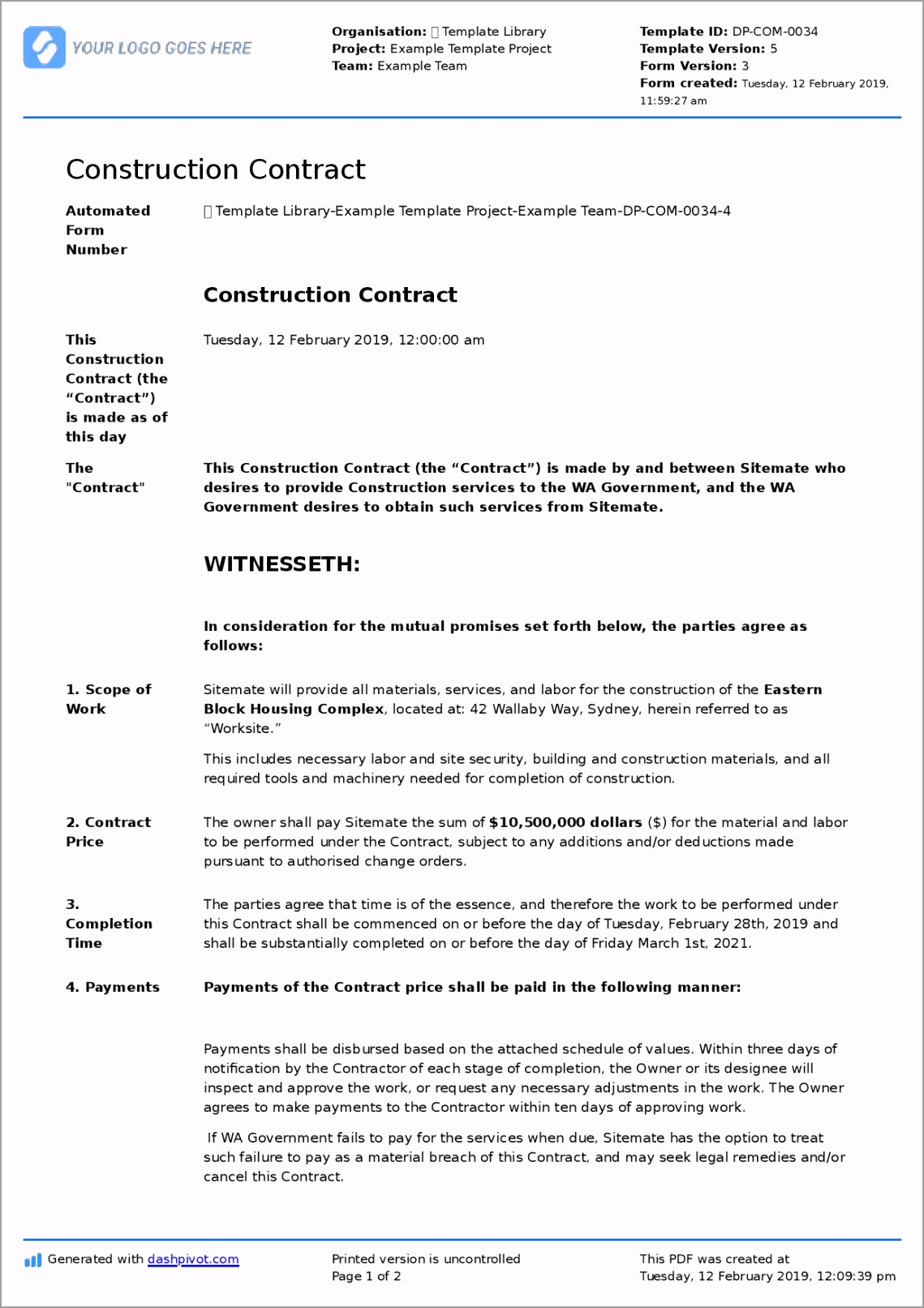 2019 1 12 Construction Contract 4 page 001 uurtr