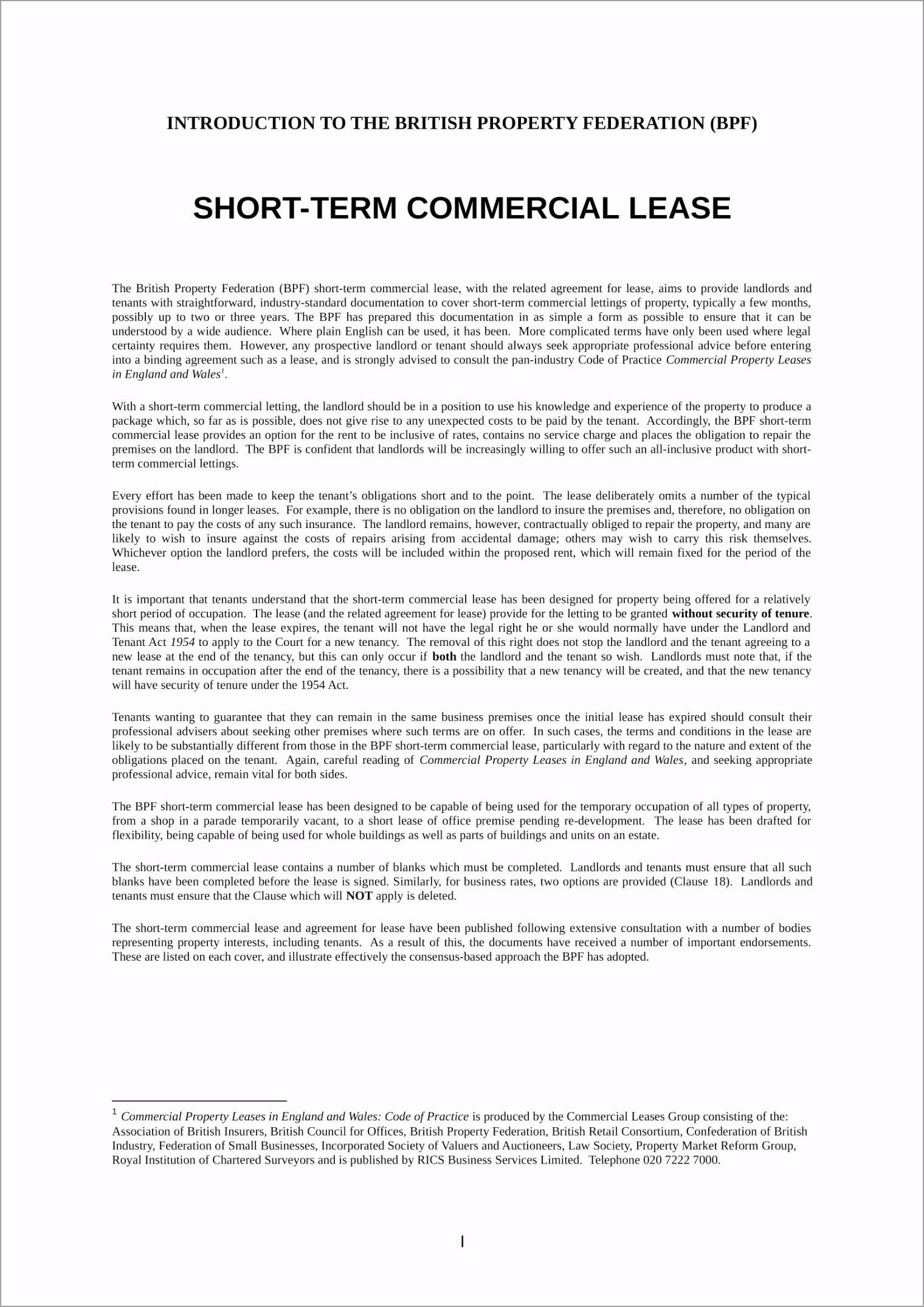 Short Term mercial Lease Contract Form 01 iitse