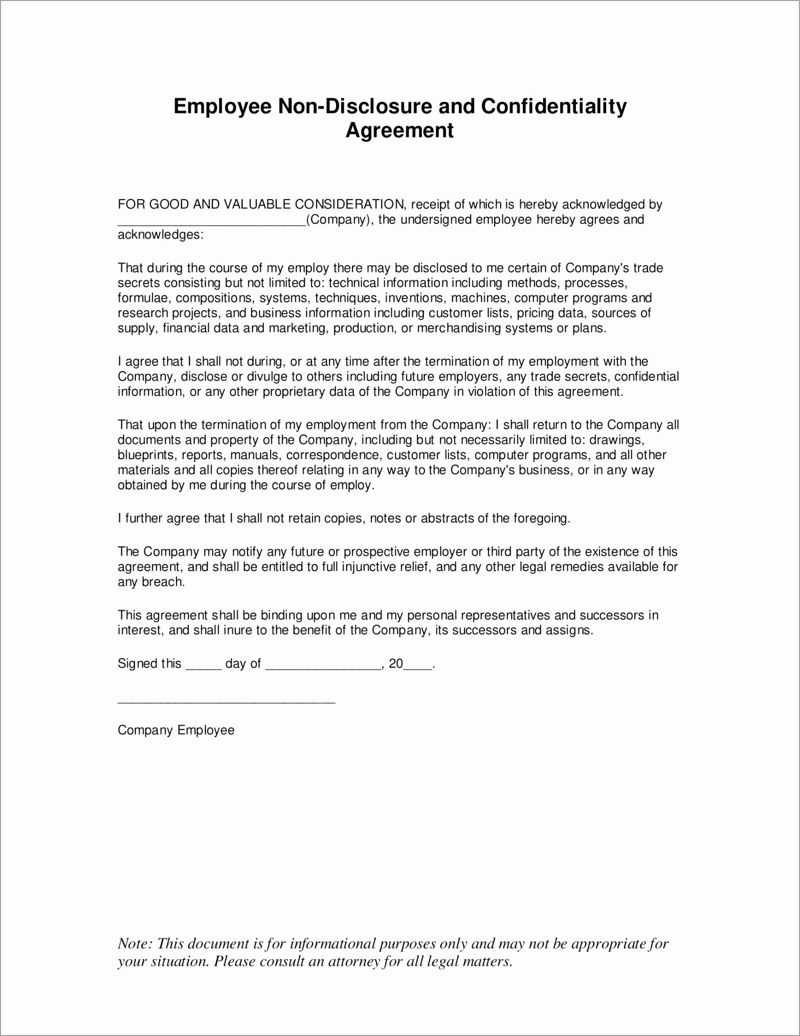 Employee Confidentiality Agreement Form 1 owiei