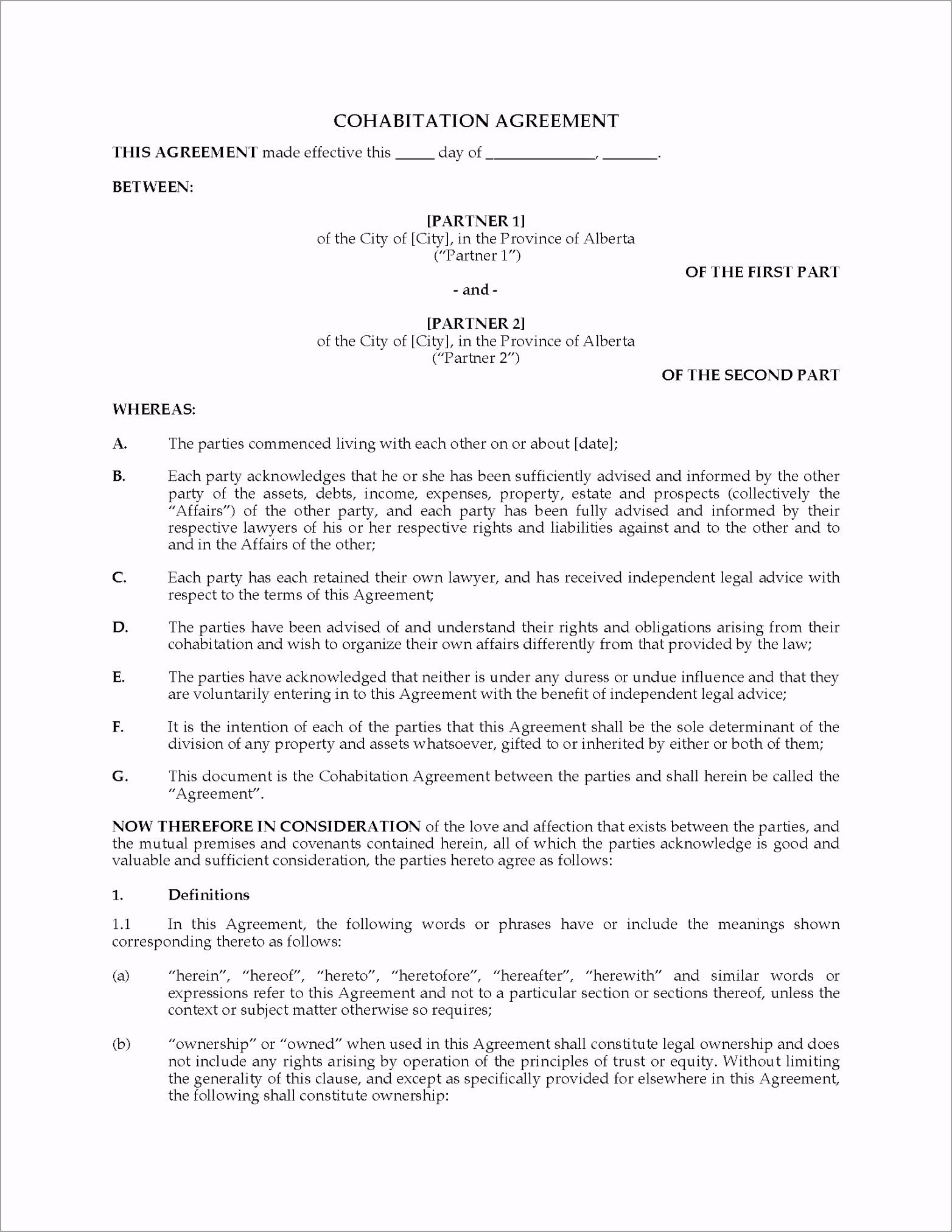 alberta cohabitation agreement reiiy