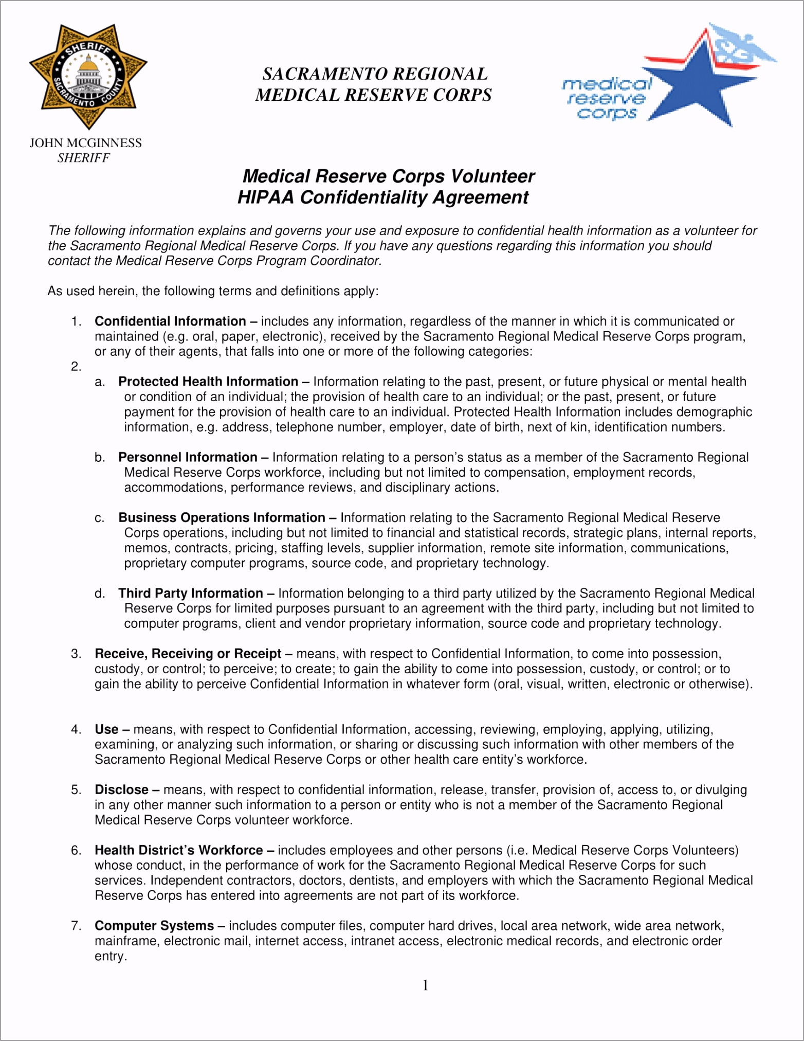 Medical Reserve Corps Volunteer HIPAA Confidentiality Agreement Example 1 uuity