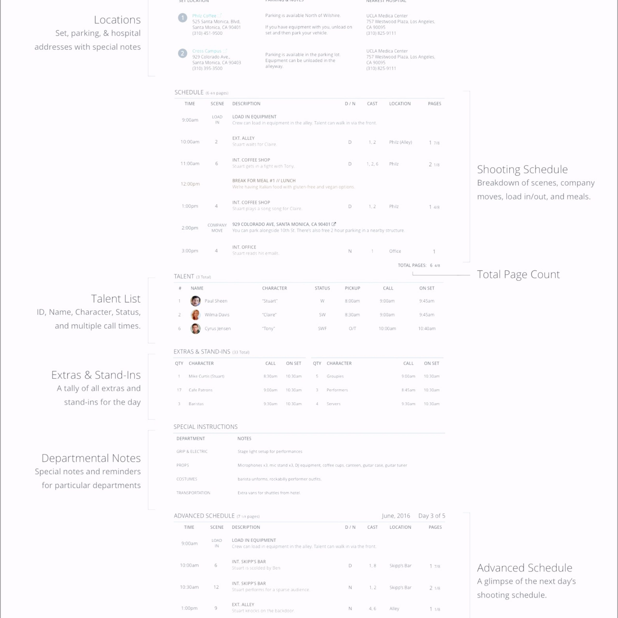 Anatomy of a Feature Call Sheet Template StudioBinder ypopr