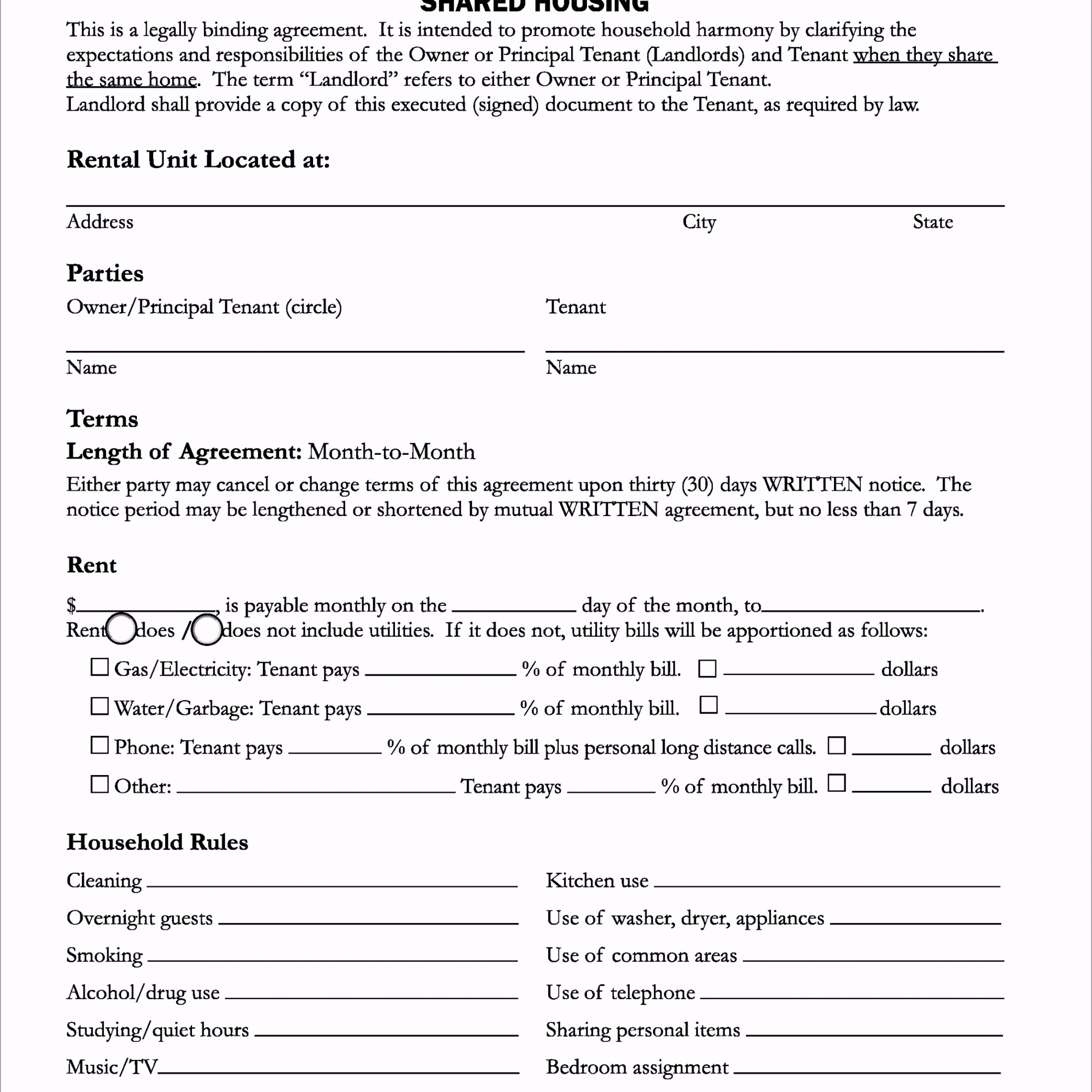 templates printable room rental agreement form and template for shared housing on santa cruz county icrwp