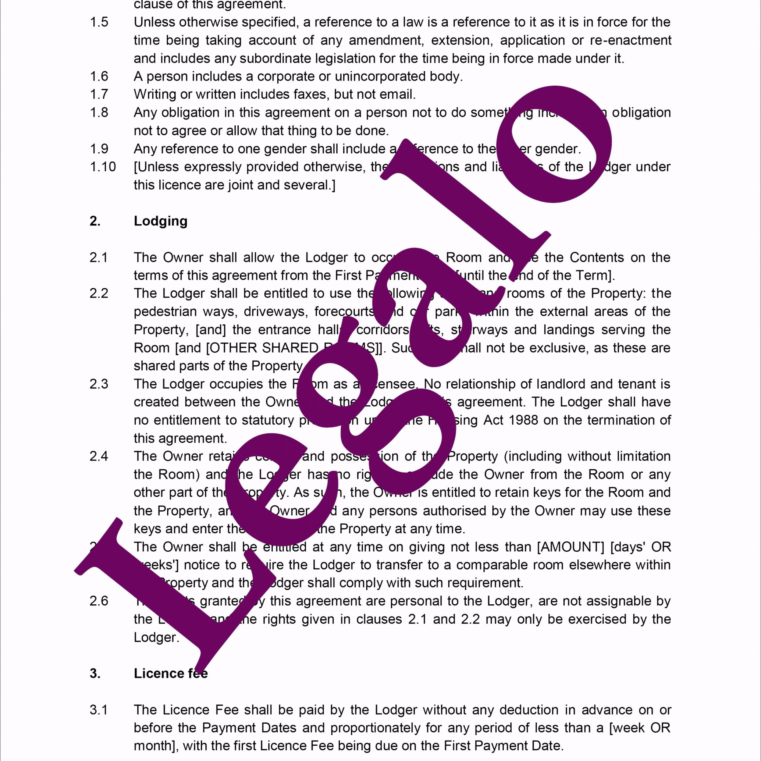 Lodger Agreement Preview 2 uepei