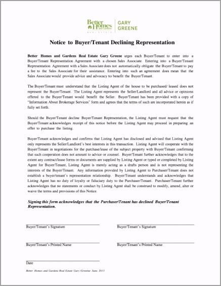 BHG Notice to Buyer Tenant Declining Representation T aeita