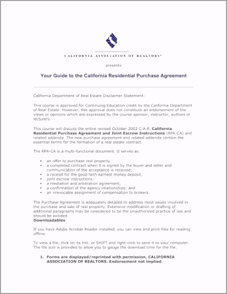 your guide to the california residential purchase agreement rpeui