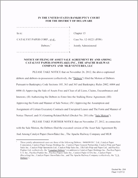 notice of filing of asset sale agreement updated stalking pwc tiiiu