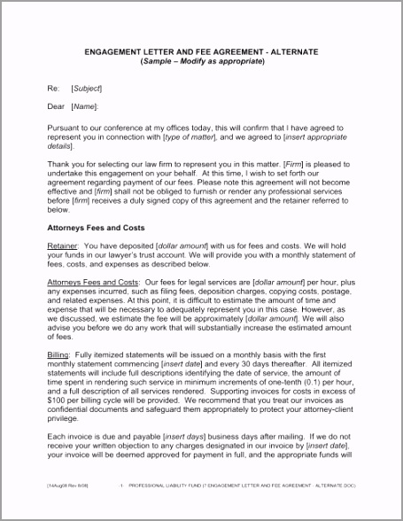 engagement letter and fee agreement alternate uwwde