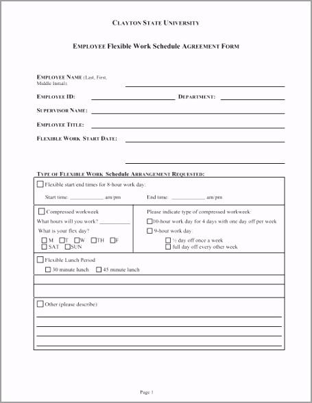 employee flexible work schedule agreement form eypuo