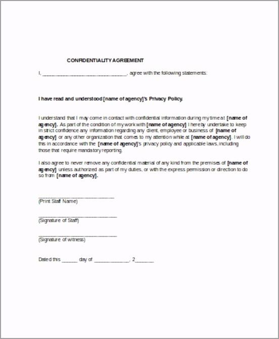 Free Confidentiality Agreement Form Sample tybta