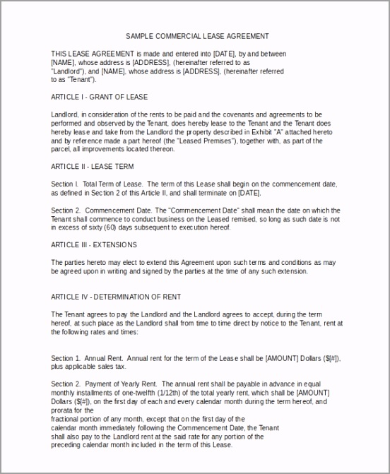 mercial lease agreement form uiuia