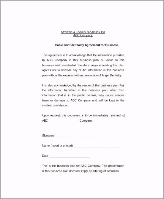 Basic Confidentiality Agreement for Business atwer