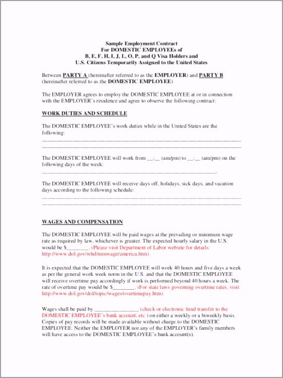 Domestic Employee Contract Example 12 tppou