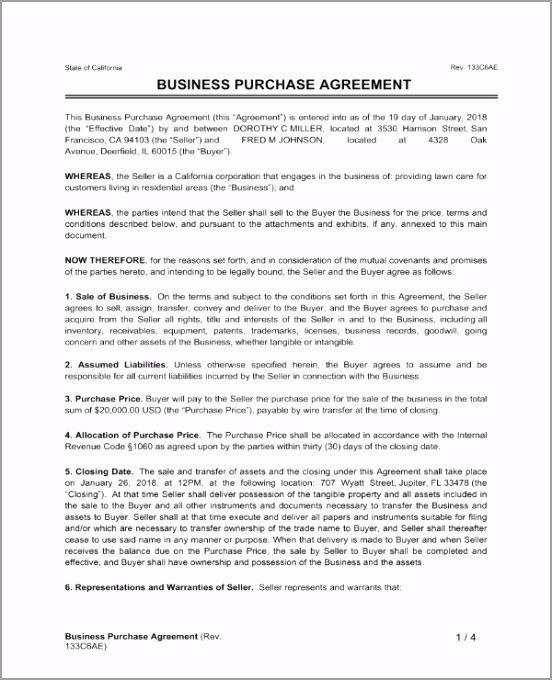 Sale of Business Contract Template 1 orear